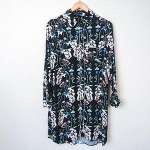 ZARA Dark Floral Button Up Tunic Shirt Dress S/M